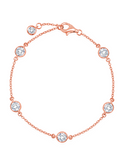 Crislu 4 mm Bezel Set Chain  Bracelet in Rose Gold