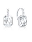 Crislu Hexagon Shape Leverback Earrings in Platinum