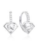Crislu Diamond Shape Pave Leverback Earrings in Platinum