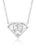 Crislu Diamond Shape Pendant in Platinum