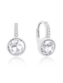 Crislu Round Shape Pave Leverback Earrings in Platinum