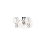 Crislu Freshwater Pearl and Bezel Set CZ Stud Earrings