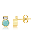 Crislu Turquoise and Baquette-Set CZ Small Stud Earrings in Gold