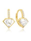 Crislu Diamond Shape Pave Leverback Earrings in Gold