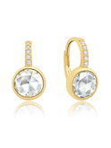 Crislu Round Shape Pave Leverback Earrings in Gold