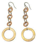 Rose Gold Plated Circle Long Drop Earrings