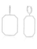 Crislu Octagon Pave Drop Earrings in Platinum