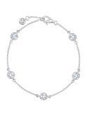 Crislu 4 mm Bezel Set Chain  Bracelet in Platinum