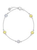 Crislu 4 mm Bezel Set Chain Canary Bracelet