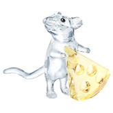 Swarovski Mouse with Cheese Crystal Figurine