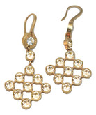 Rose Gold Plated Champagne Crystal Net Earrings
