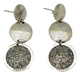Triple Circle Drop Earrings with Silver Glam