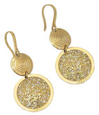 Circle Drop Earrings with Gold Glam