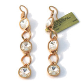 Long Earrings with Clear Crystals in Rose Gold
