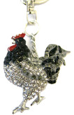 Rooster Keychain with Black and Clear Crystals