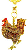 Rooster Keychain with Brown Crystals in Gold-Tone