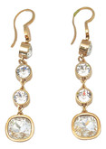 Rose Gold Plated Drop Earrings with Clear Crystals