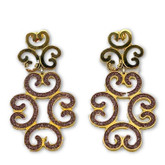 Large Earrings from Louis XIV Collection in Rose Gold Plated Bronze