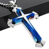 Men's Stainless Steel Blue Cross Pendant