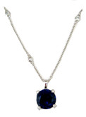 Crislu Blue Sapphire Round Pendant With Bezel Set CZ Chain