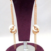 Adami & Martucci Link Chain Drop Earrings with White Leather