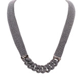 Adami and Martucci Silver Mesh Necklace with Silver Links