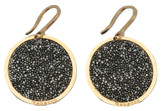 Rose Gold Plated Circle Earrings with Black Glam