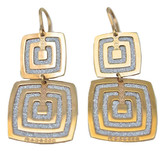 Double Square Earrings in Rose Gold Plating, Large