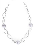 White Barrel Baroque Pearl Oval Link Chain Necklace, 17""