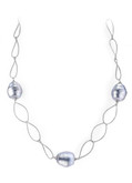 Grey Barrel Baroque Pearl Oval Link Chain Necklace, 17""