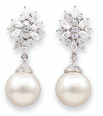 White Pearl Large Fashion Earrings With CZ Pave