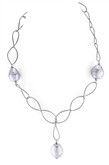 White Barrel Shape Pearl Oval Link Chain Necklace, 17""