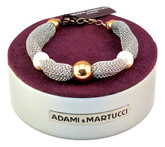 Adami & Martucci Silver Mesh Bracelet with Rose Gold Ball and Freshwater Pearls