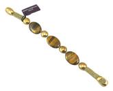 Adami & Martucci Gold Mesh Bracelet with Tiger's Eye Stones