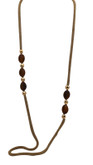 Adami & Martucci Gold Mesh Necklace with Tiger's Eye Stones