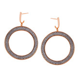 Adami & Martucci Silver Mesh Circle Earrings in Rose Gold