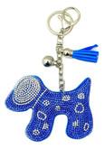 Blue Faux Leather Dog Keychain with Rhinestones