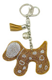 Beige Faux Leather Dog Keychain with Rhinestones