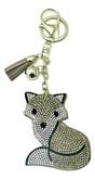 Grey Faux Leather Fox Keychain with Rhinestones