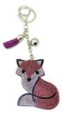 Violet Leather Fox Keychain with Rhinestones