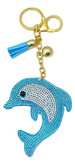 Turquoise Faux Leather Dolphin Keychain with Rhinestones