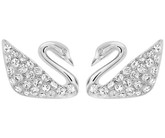 Swarovski Swan Stud Earrings in Rhodium