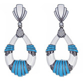 Cleopatra Earrings, Turquoise/White