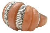 Mountain Top Twist Ring, Peach MOP