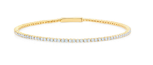 Crislu Tennis Flex Wire Bangle in Yellow Gold