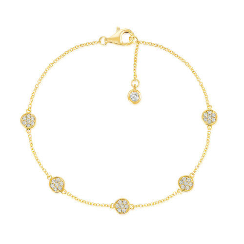 Crislu Pave Circles Chain  Bracelet in Yellow Gold