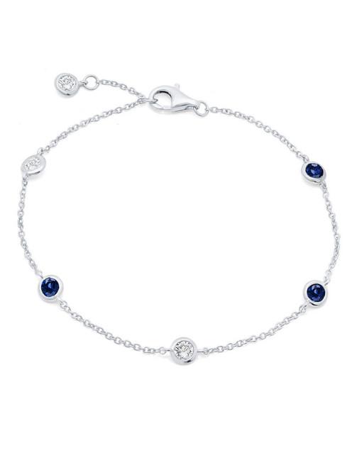 Crislu 4 mm Bezel Set Sapphire and Clear CZ Chain Bracelet
