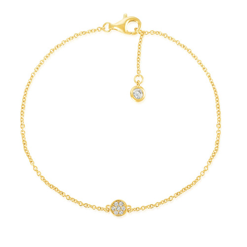 Crislu Pave Circle Chain Bracelet in Yellow Gold