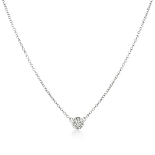 Crislu Pave Circle Chain Necklace in Platinum