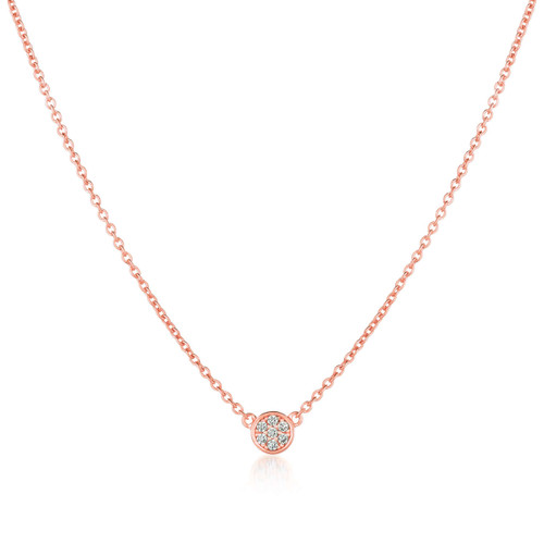Crislu Pave Circle Chain Necklace in Rose Gold